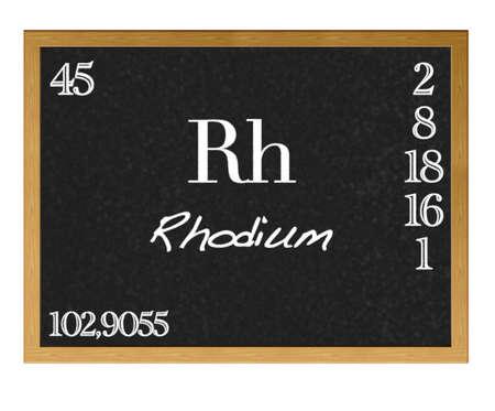 rhodium: Isolated blackboard with periodic table, Rhodium