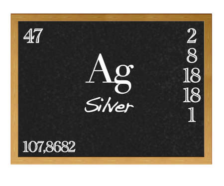 Isolated blackboard with periodic table, Silver  photo
