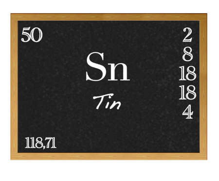 Isolated blackboard with periodic table, Tin. photo