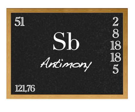 antimony: Isolated blackboard with periodic table, Antimony. Stock Photo