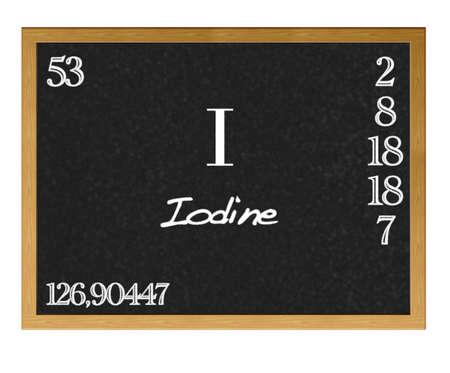 Lavagna isolato con tavola periodica, iodio.