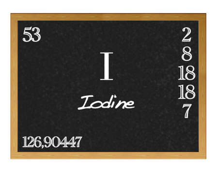 iodine: Isolated blackboard with periodic table, Iodine. Stock Photo
