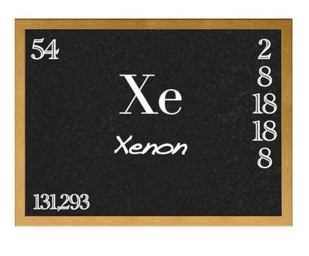 xenon: Isolated blackboard with periodic table, Xenon. Stock Photo