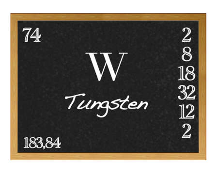 lanthanoids: Isolated blackboard with periodic table, Tungsten.