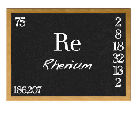re design: Isolated blackboard with periodic table, Rhenium. Stock Photo