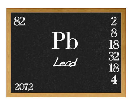 Isolated blackboard with periodic table, Lead. photo