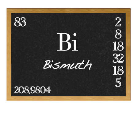 actinoids: Isolated blackboard with periodic table, Bismuth. Stock Photo