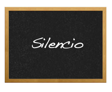 Isolated blackboard with word silence.