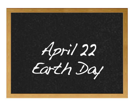 Isolated blackboard with Earth Day  Stock Photo