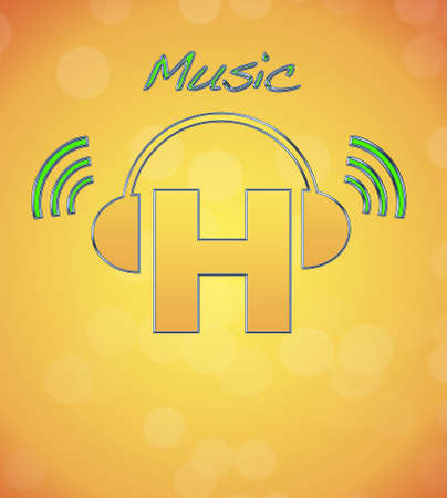 H, music logo. photo