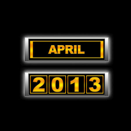 the turn of the year: Calendar 2013, April. Stock Photo