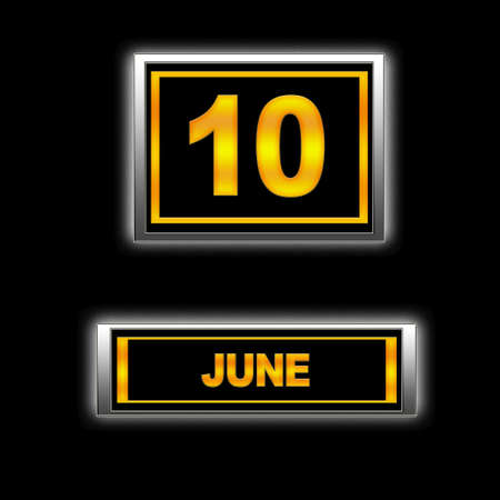 Illustration with Calendar, June 10. illustration