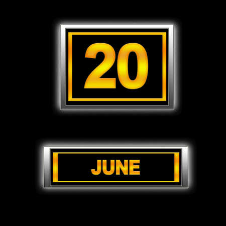 Illustration with Calendar, June 20. illustration