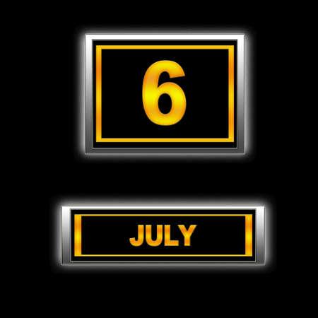 Illustration with Calendar, July 6. Stock Illustration - 13251530
