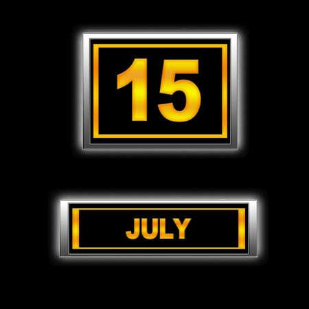Illustration with Calendar, July 15. Stock Illustration - 13251531