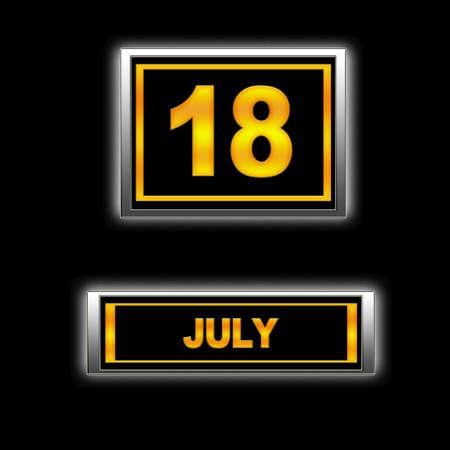 Illustration with Calendar, July 18. Stock Illustration - 13251444