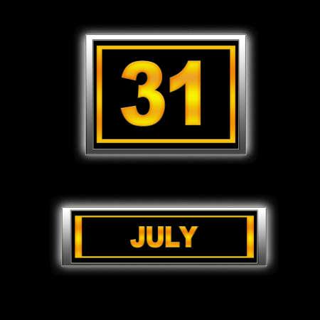 Illustration with Calendar, July 31. illustration