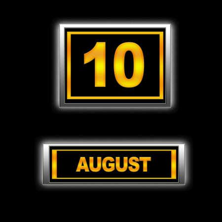 Illustration with Calendar, August 10. Stock Illustration - 13256379