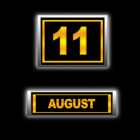 11 number: Illustration with Calendar, August 11.