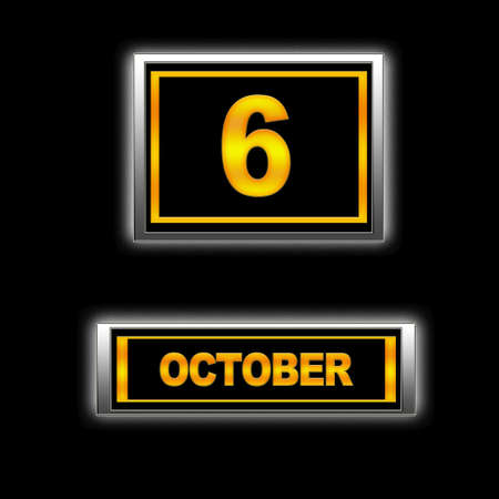 Illustration with Calendar, October 6  Stock Illustration - 13256348
