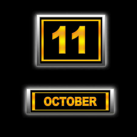 11 number: Illustration with Calendar, October 11  Stock Photo