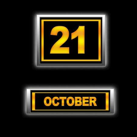 Illustration with Calendar, October 21  illustration