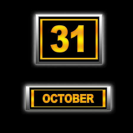 oct 31: Ilustraci�n con el calendario, 31 de octubre Foto de archivo