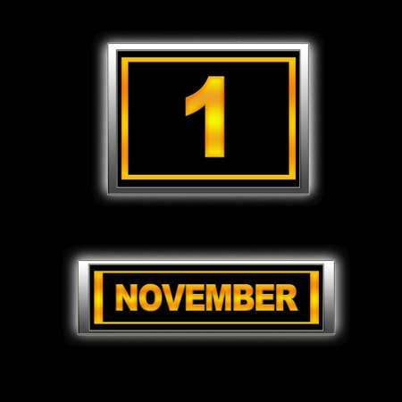 Illustration with Calendar, November 1. illustration