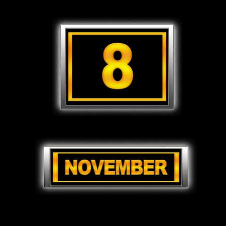 Illustration with Calendar, November 8. Stock Illustration - 13268181