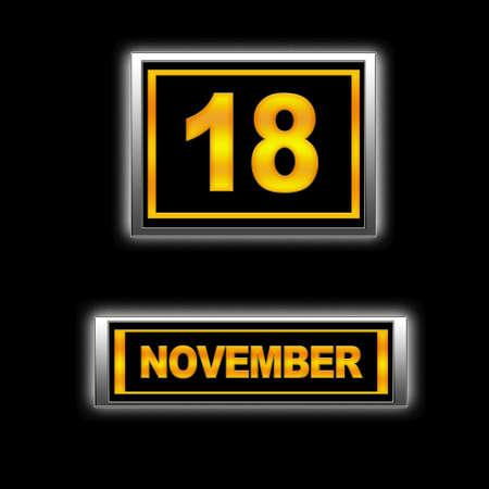 Illustration with Calendar, November 18. Stock Illustration - 13267209