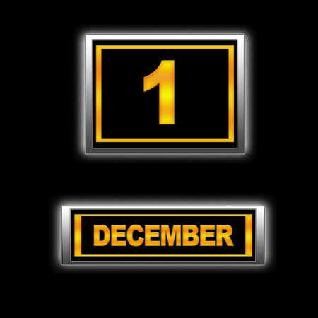 december kalender: Illustratie met Agenda, 1 december.
