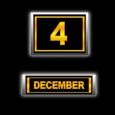 december kalender: Illustratie met Agenda, 4 december.