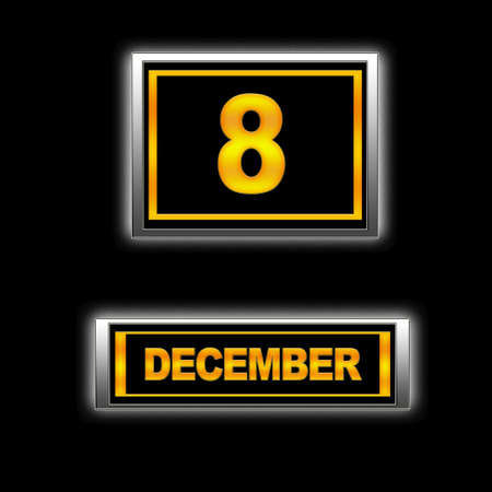 december kalender: Illustratie met Agenda, 8 december. Stockfoto