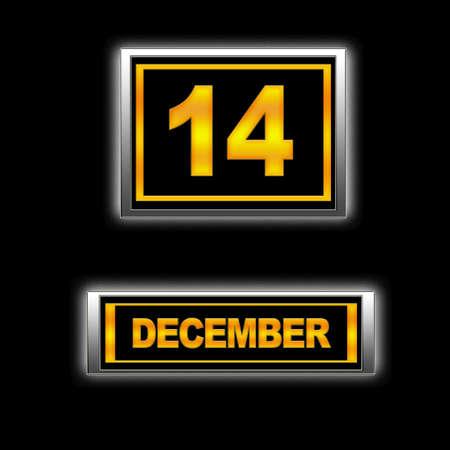 december kalender: Illustratie met Calendar, december 14. Stockfoto