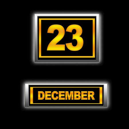 december kalender: Illustratie met kalender, 23 december