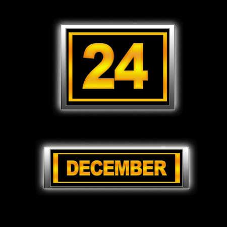 Illustration with Calendar, December 24  Stock Illustration - 13267207