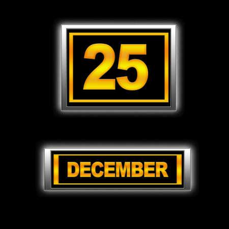 Illustration with Calendar, December 25  Stock Illustration - 13268360