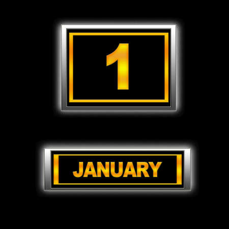 Illustration with Calendar, January 1 Stock Illustration - 13267984