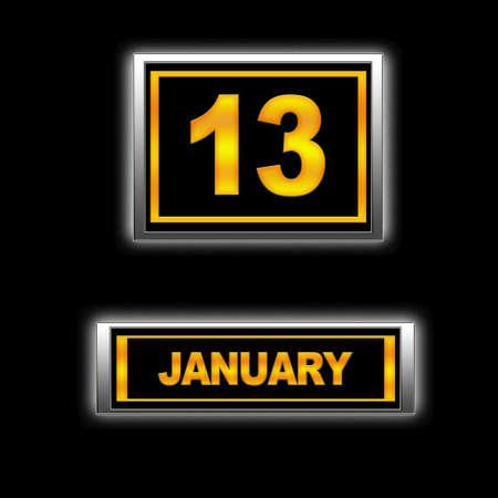 Illustration with Calendar, January 13  illustration