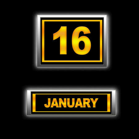 number 16: Illustration with Calendar, January 16