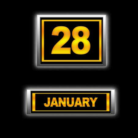 Illustration with Calendar, January 28 Stock Illustration - 13268343