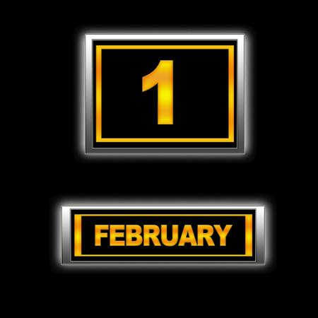february 1: Illustration with Calendar, February 1  Stock Photo