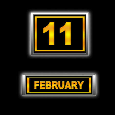11 number: Illustration with Calendar, February 11  Stock Photo