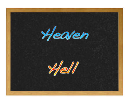 Isolated blackboard with heaven and hell. photo