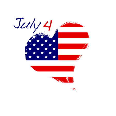 Isolated USA heart July 4  photo