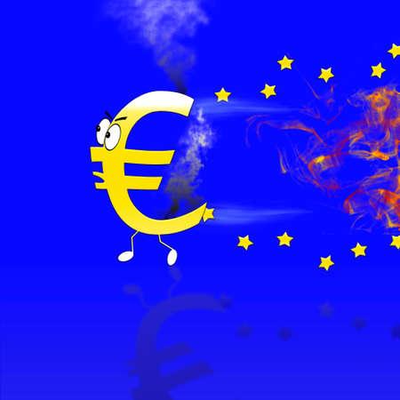burning money: Euro sign burning. Stock Photo