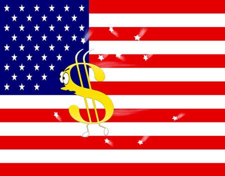 Dollar sign running and USA flag  photo