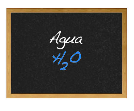 Isolated blackboard with Water, H2O  photo