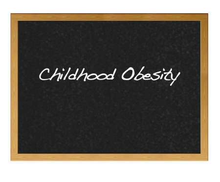 childhood obesity: Isolated blackboard with childhood obesity.