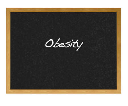 obesidad infantil: Pizarra aislada con la obesidad.
